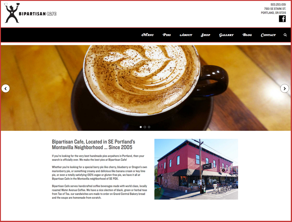 bipartisan cafe website design portland